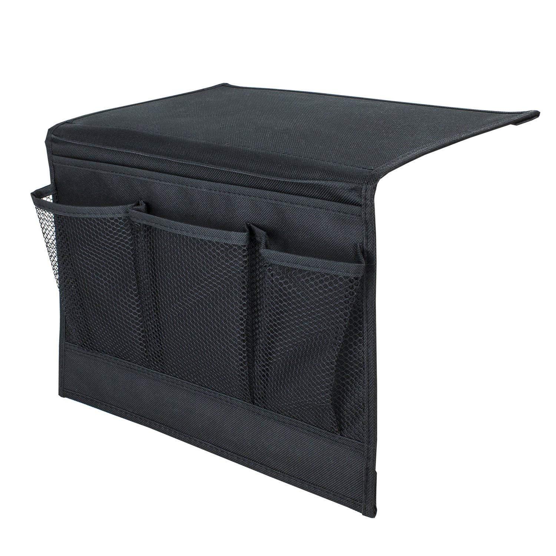 Soporte de mesa y armario para mando a distancia de TV 4 bolsillos Percha de almacenamiento multiusos Organizador de mesilla de noche tel/éfonos y libros negro