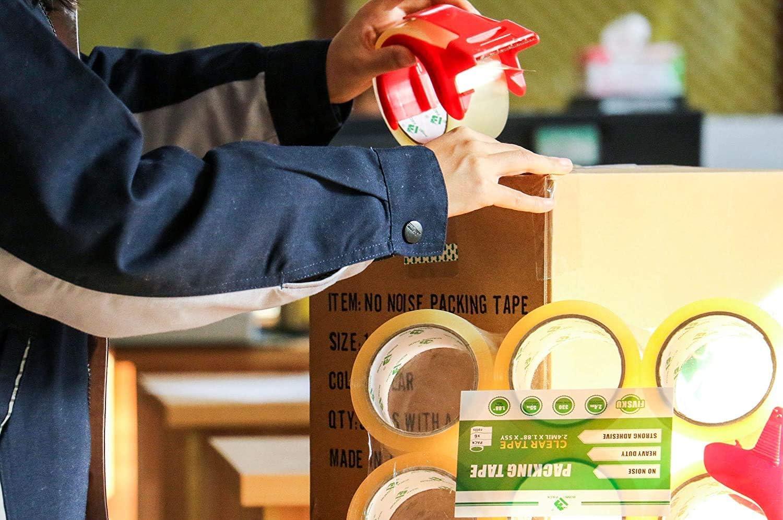 6 Rollen Kein Ger/äusch Packband mit Paketabroller 48mm x 66m Transparent