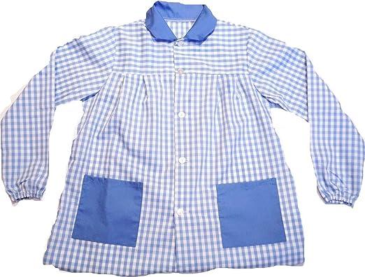 ESCOLAIN - Mandilón Bicolor Colegio para Niño - Color - Cuadro Grande en Azul Blanco y