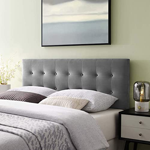 Modway Emily Queen Biscuit Tufted Performance Velvet Headboard, Gray
