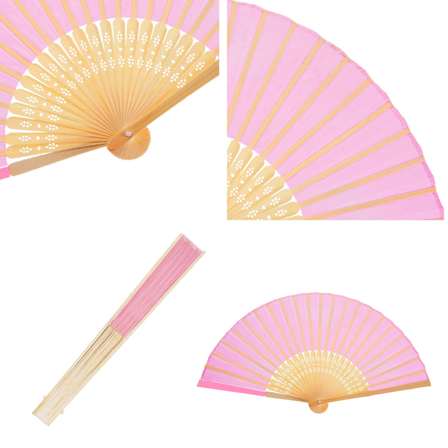 Amazon.com: Bememo 12 Pack Hand Held Fans Silk Bamboo Folding Fans ...