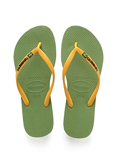 Havaianas Damen Slim Brasil Logo Zehentrenner, Grün (Green Bamboo), 43/44 EU (41/42 Brazilian)