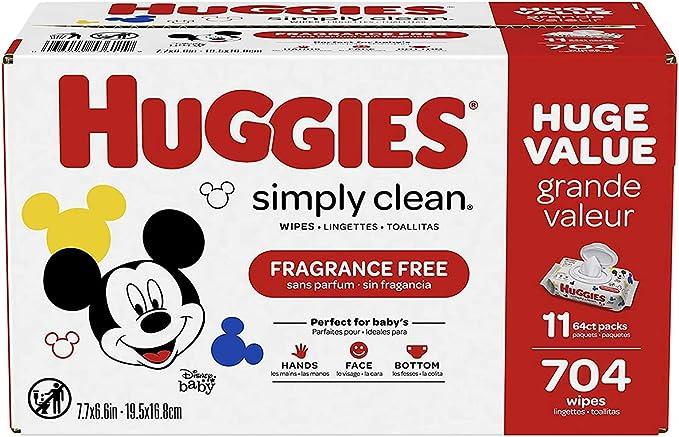 ihocon: Huggies Simply Clean Fragrance-Free Baby Diaper Wipes, 11 Flip Lid Packs (704 Wipes Total)嬰兒濕巾