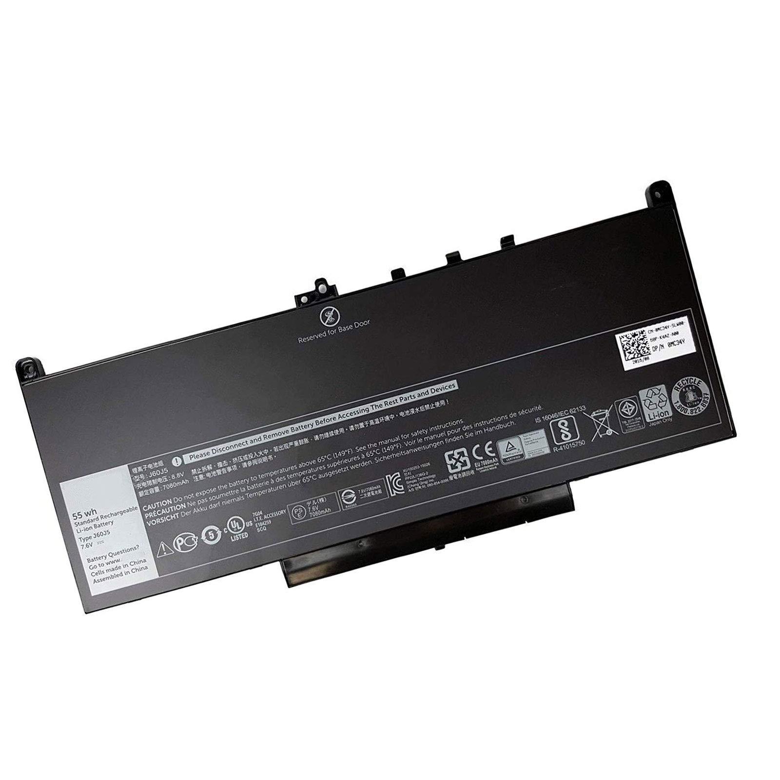 Dentsing J60J5 7.6V 55WH Laptop Battery Replacement for Dell Latitude E7270 E7470 Series R1V85 451-BBSX 451-BBSY 451-BBSU MC34Y 242WD