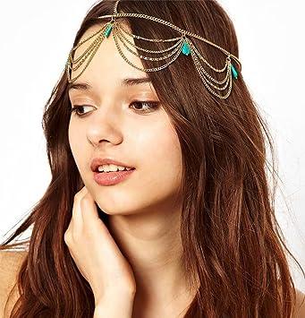 Amazon.com   Goddess Green Stone Hanging Chain Headband Accessory   Beauty 206d9478464