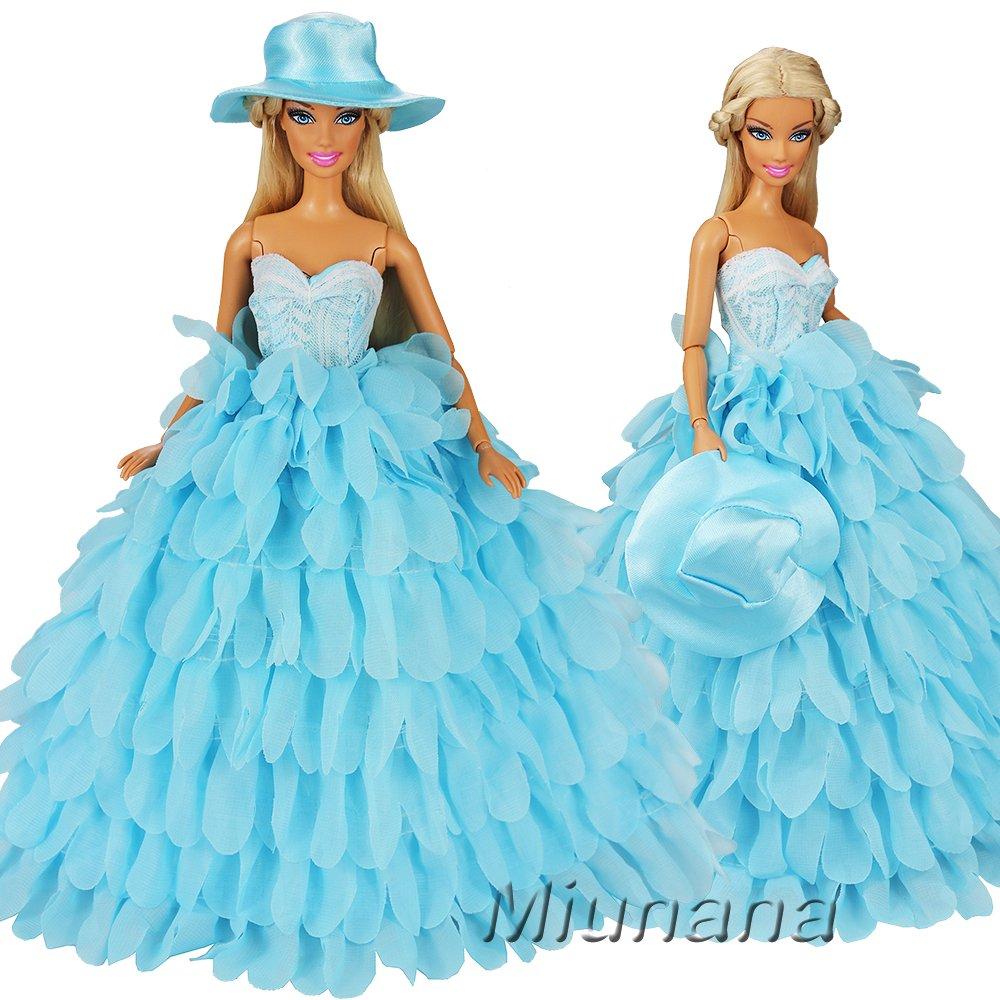 Miunana 1 Vestido Princesa + 1 Sombrero Ropa Vestir Fiesta Accesorios como Regalo para Muñeca Barbie Doll - Azul