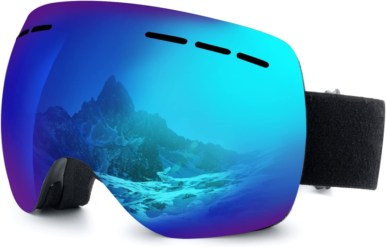 IOO Ski Goggles Over Glasses for Men Women Youth Frameless Anti-Fog Clear UV 400 Protection Snow Goggles Snowboarding Goggles