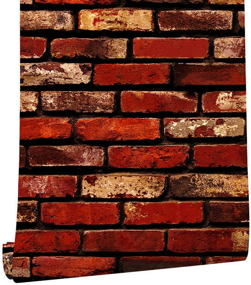 "118""×17.7"" Red Brick Wallpaper Peel and Stick Wallpaper ..."