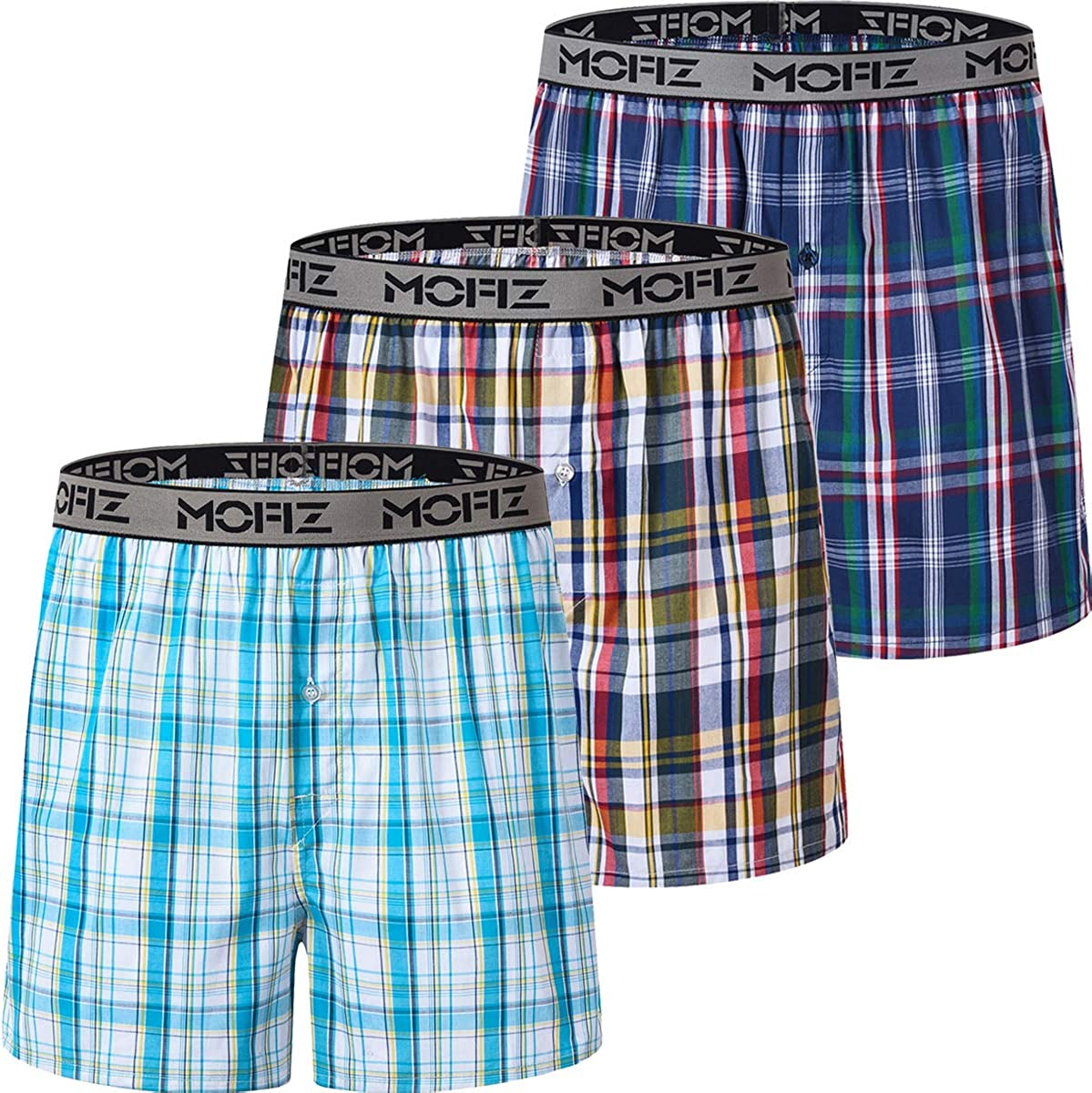 JINSHI Mens Woven Checked Boxer Shorts 100/% Cotton Underwear Elastic Waist Button Fly Boxers Trunks