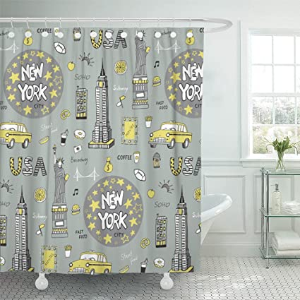 Emvency Shower Curtain Waterproof Taxi New York City Pattern Usa America Apple Broadway Building Cocktail Culture