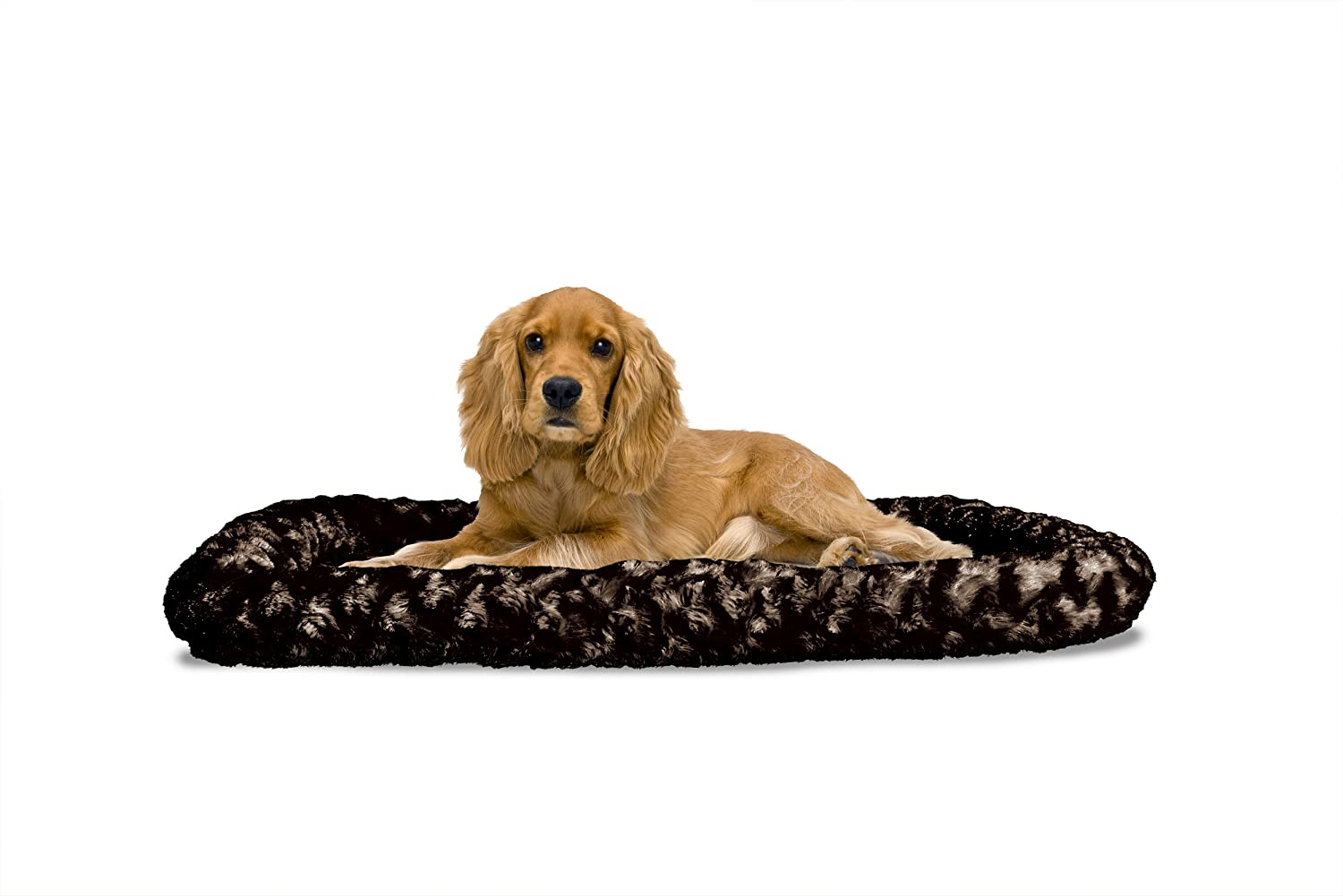 Chocolate MediumFur Haven Nap Ultra Plush Bolster for Kennels and Crates, Large Chocolate, Fits  24  X 36
