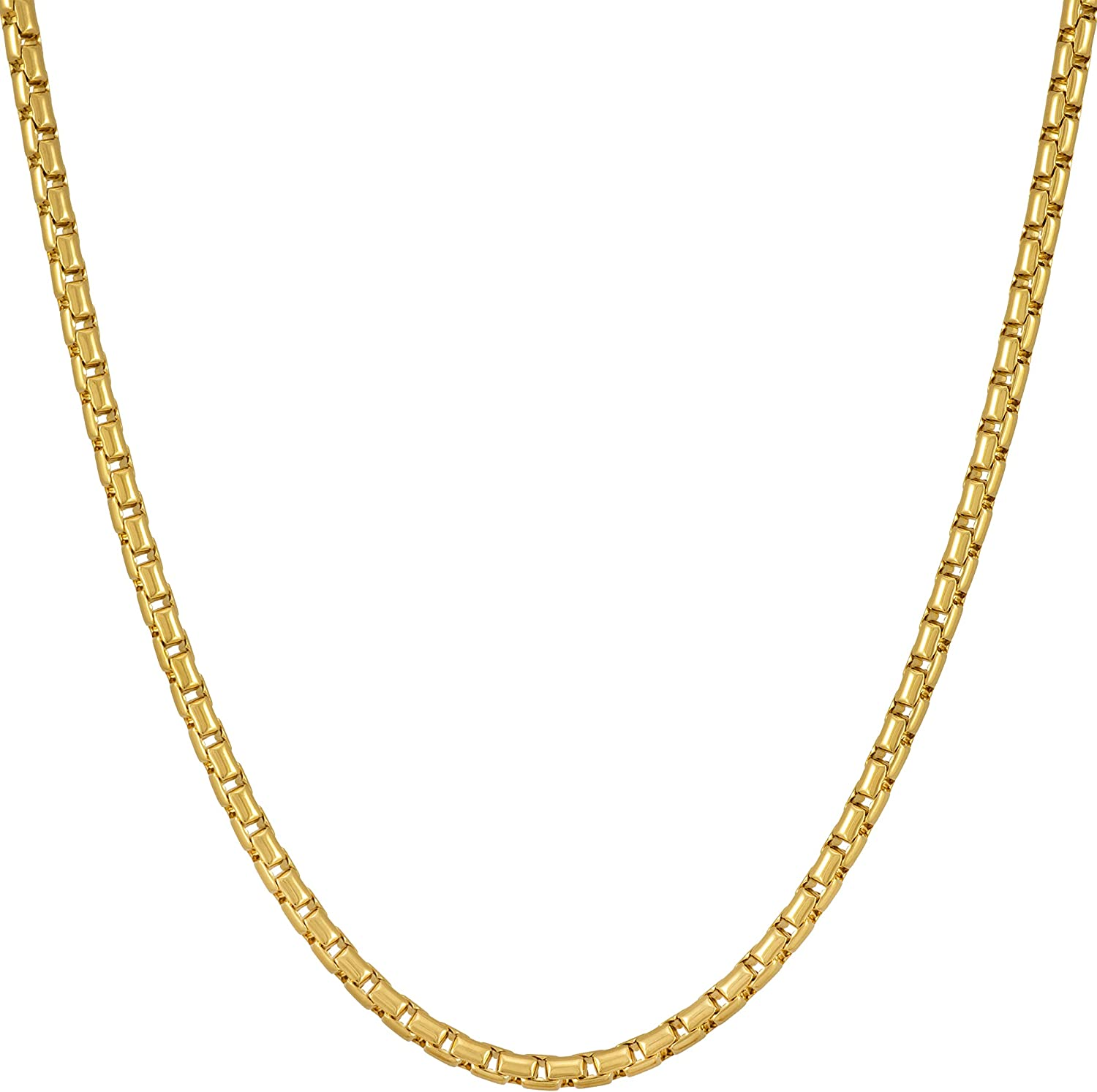 Lifetime Jewelry 2 2mm Rounded Box Chain Necklace 24k Gold Plated For Women Men 16 0 Amazon Com