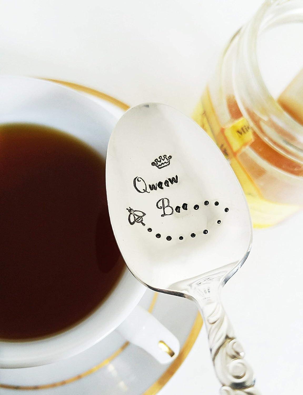 Honey Spoon - Queen Bee - Tea Spoon - Hand Stamped Spoon - Bee Stamped
