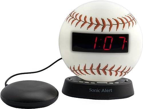 Sonic Alert Extra-Loud Dual Alarm Clock Baseball – SBW100BBSS Recordable Alarm w Vibrating Alarm Clock Heavy Sleepers, Battery Backup Wake with a Shake