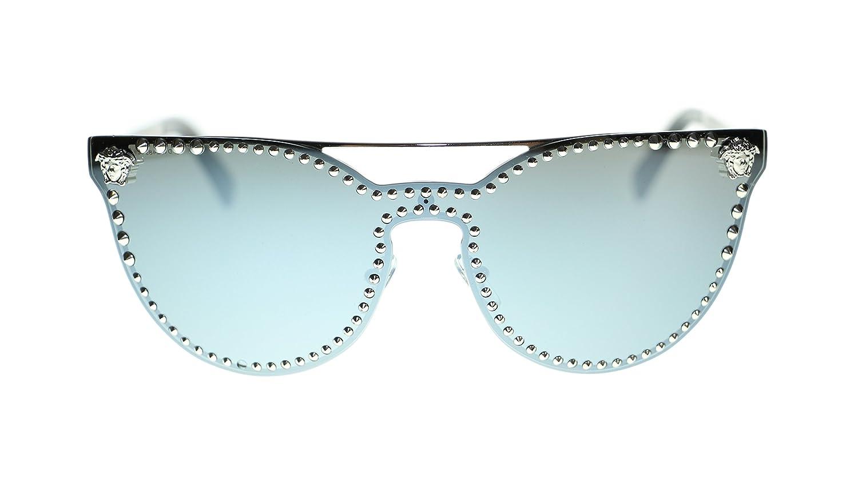 a9975d60bb Amazon.com  Versace Cat Eye Women s Sunglasses VE2177 10006G Silver Grey  Mirror Silver Lens 45mm Authentic  Clothing
