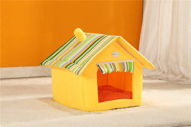 Xinjiener Letti di igloo giallo per cani e gatti Cuccia calda di animali domestici Pet casa portatile con stuoia regalo per animali domestici giallo S37  34  24cm