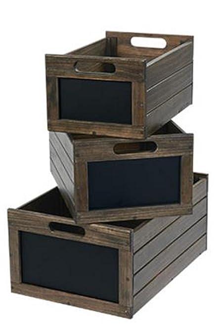 Wooden Storage Crates Bin Vegetable Potato Craft Nesting Box Oak Chalkboard  Erasable Front Sign Label Set