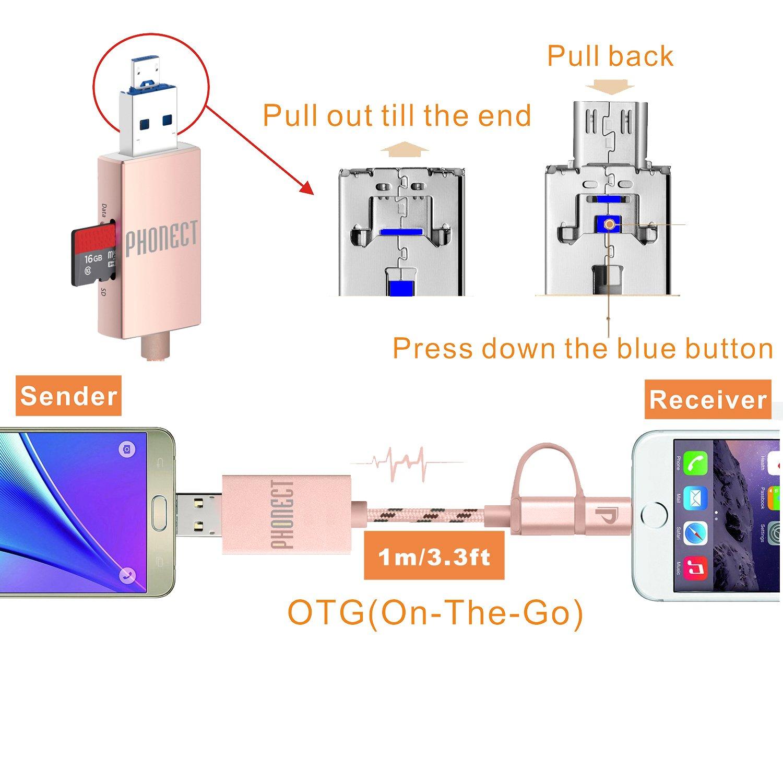 Phonect 2 En 1 Cable De Carga Otg Multifuncin Usb Tambin Wiring Diagram Hecho Lector Tarjeta Micro Tf Color Rosado Electrnica