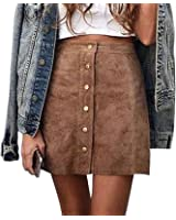 Gamery Women's High Waist Faux Suede Button Closure Plain A-Line Mini Short Skirt