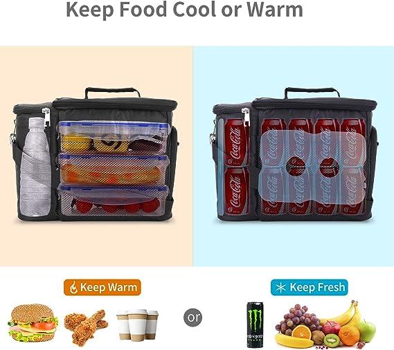 congelables aislada color gris para almacenar alimentos peque/ños bolsa t/érmica reutilizable con correa para adultos bolsa de almuerzo Fiambrera para hombre bolsa de trabajo 7 L