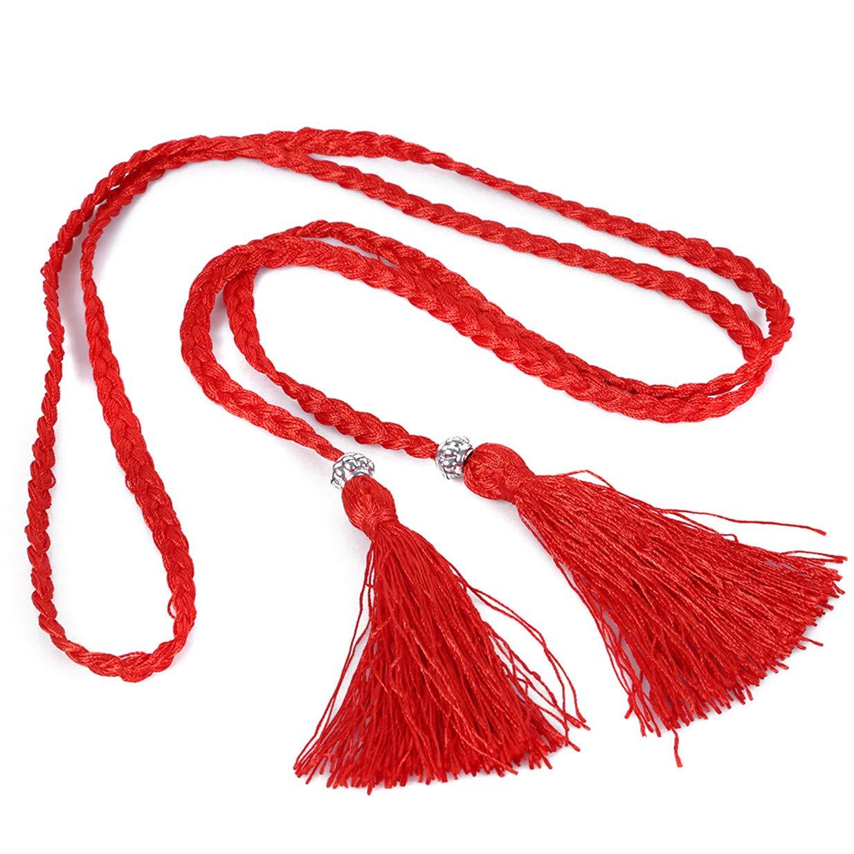LALANG Women Folk-custom Tassel Braided Waist Rope Girl Clothing Belt
