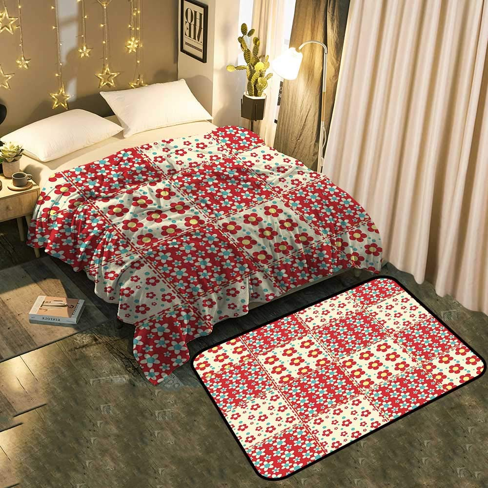 Blanket mat Set Combination Traditional Quilt Pattern with Spring Garden Flowers Daisies Light Yellow Turquoise Red Good for All Seasons Blanket 35'x60'/Mat 21'x11'