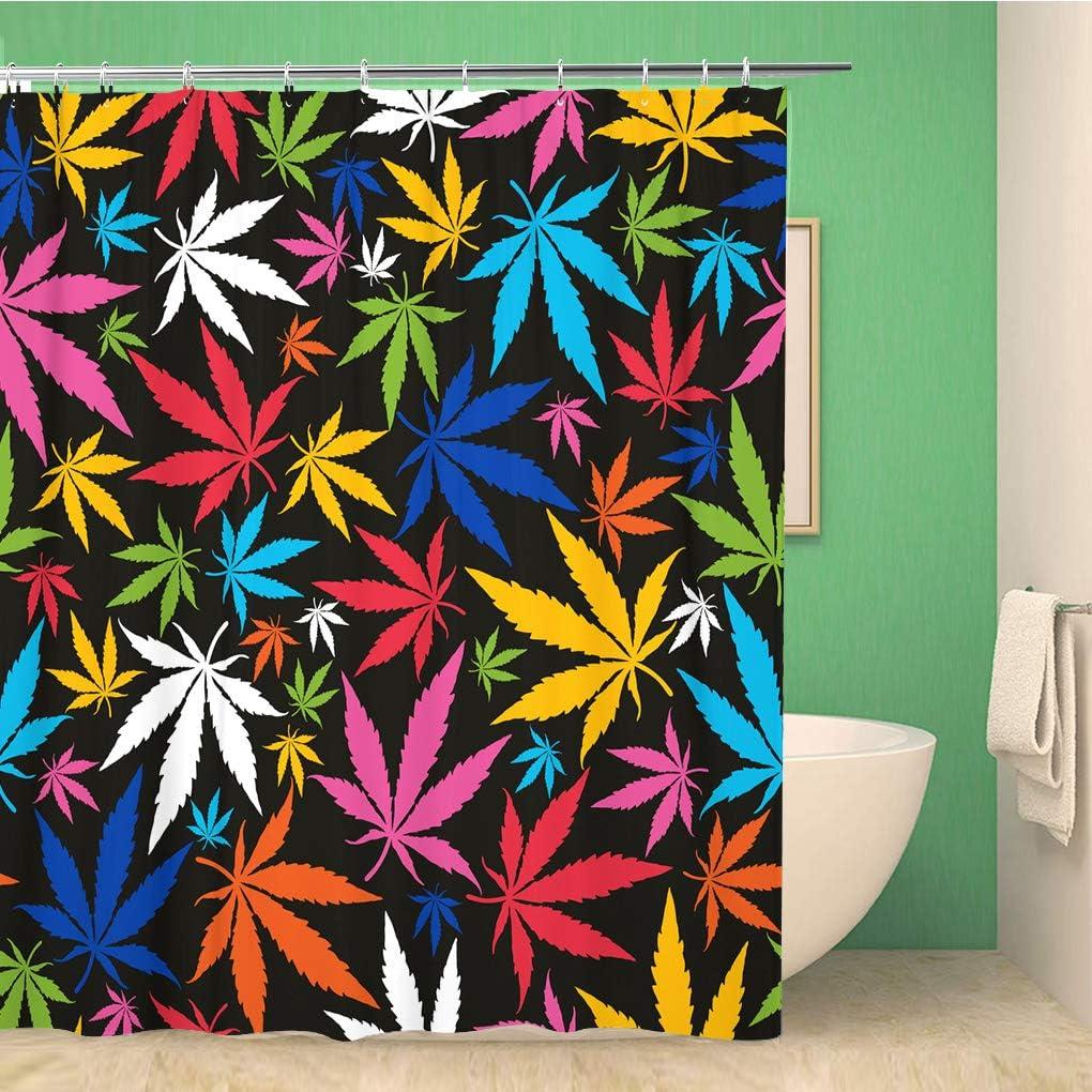 Awowee Decor - Cortina de Ducha (180 x 180 cm, poliéster, diseño de Hojas de Marihuana y janja), Color Gris