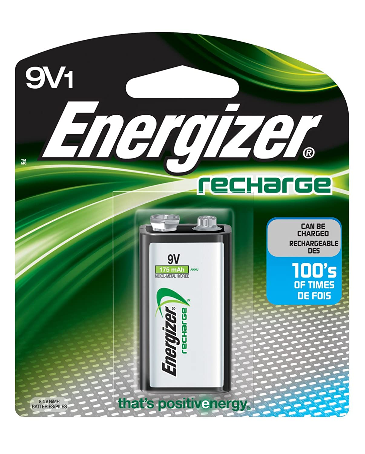 Energizer NH22NBP Rechargeable 9V Battery Energizer Batteries- Consumables