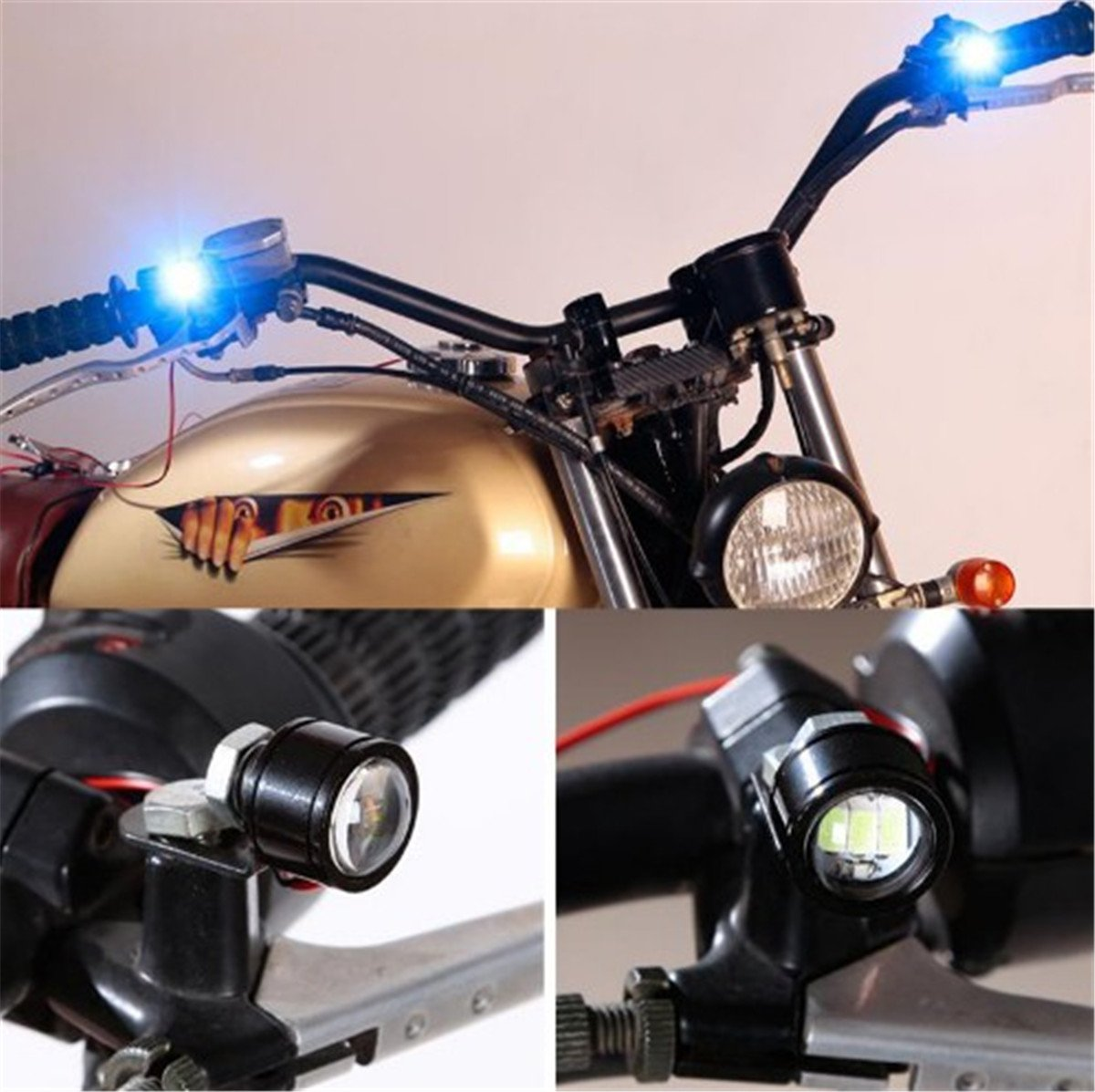 Fochutech 2 pcs 12V Bright Waterproof Motorcycle LED Headlight Spotlight Assist Lamp Rearview Mirror Strobe Light Universal Ice Blue, Constant