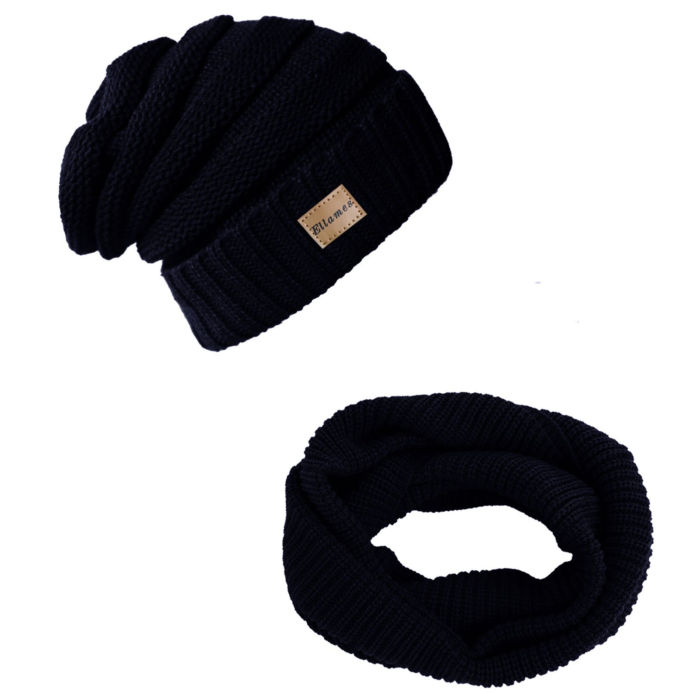76b65c98edd23 Ellames Knit Beanie Infinity Scarf for Women Men Circle Loop Scarves Hat  Set Navy at Amazon Women s Clothing store