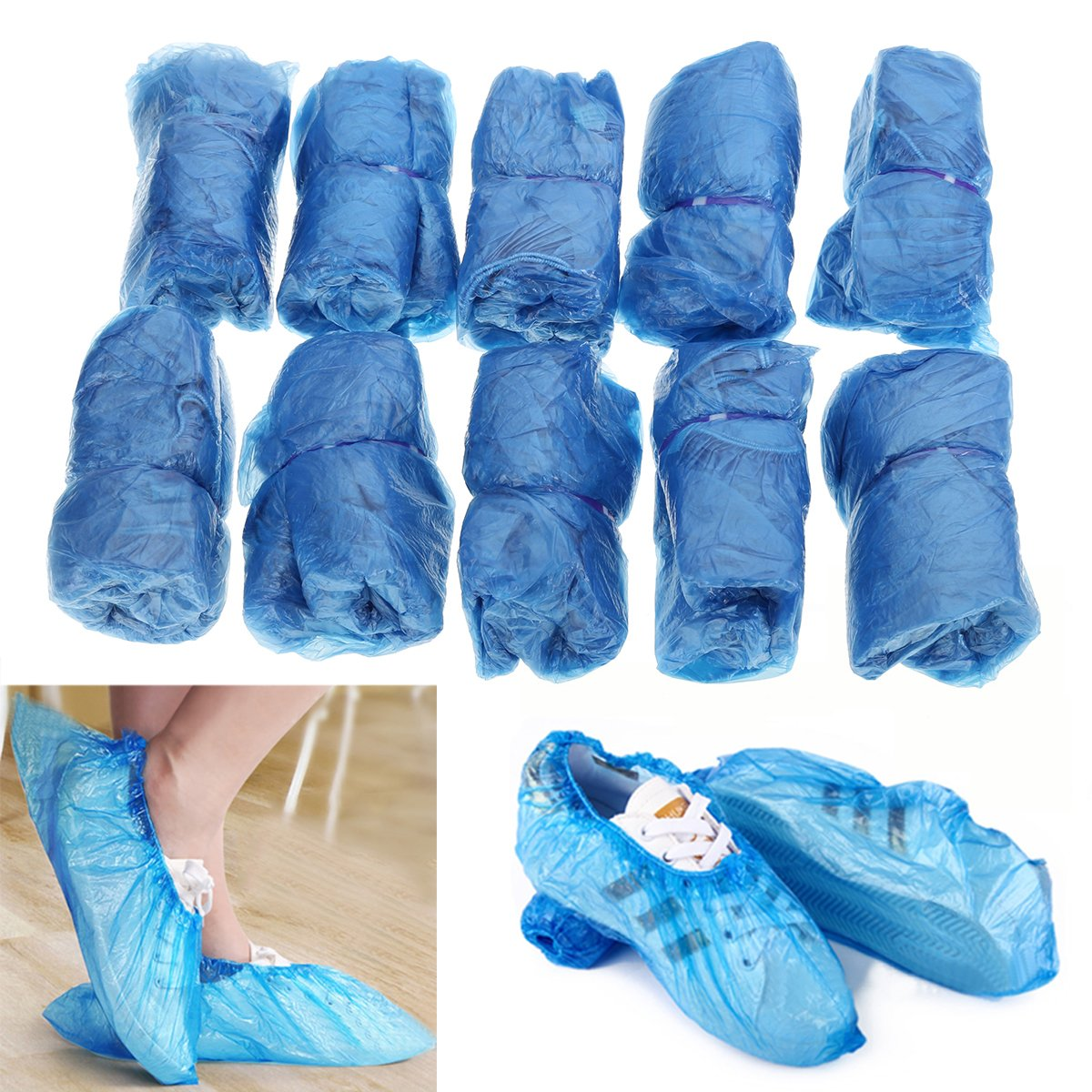 100Pcs Blue Plastic Disposable Overshoes Carpet Protector Shoes Cover Mayitr