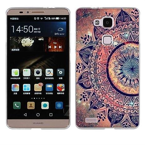 Fubaoda Huawei Ascend Mate 7 Hülle, [Mandala Blume] Kratzfeste Plating TPU Case für Huawei Ascend Mate 7 Case Schutzhülle Sil
