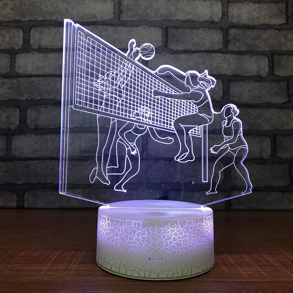 TYWWAN Volleyball3D Touch Lámpara de luz nocturna Colorido Dormitorio Dormitorio Dormitorio decorativo Accesorios de iluminación en 3D Habitación para niños LED Lámparas de luces para niños 063510
