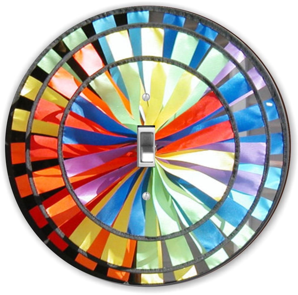 Rikki Knight RND-LSPS-109 Colorful Pin Wheel Round - Single Toggle Light Switch Plate