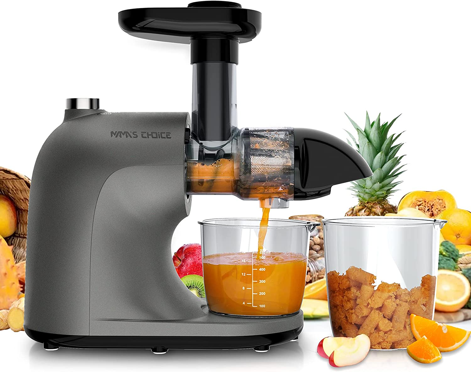 Juice Extractor, Slow Masticating Juicer, Cold Press Juicer Machine with Quiet Motor & Hard, Soft, Reverse Functions, Higher Juicer Yield & Drier Pulp, BPA-Free, Recipes, Brush, MAMA'S CHOICE MMC2001