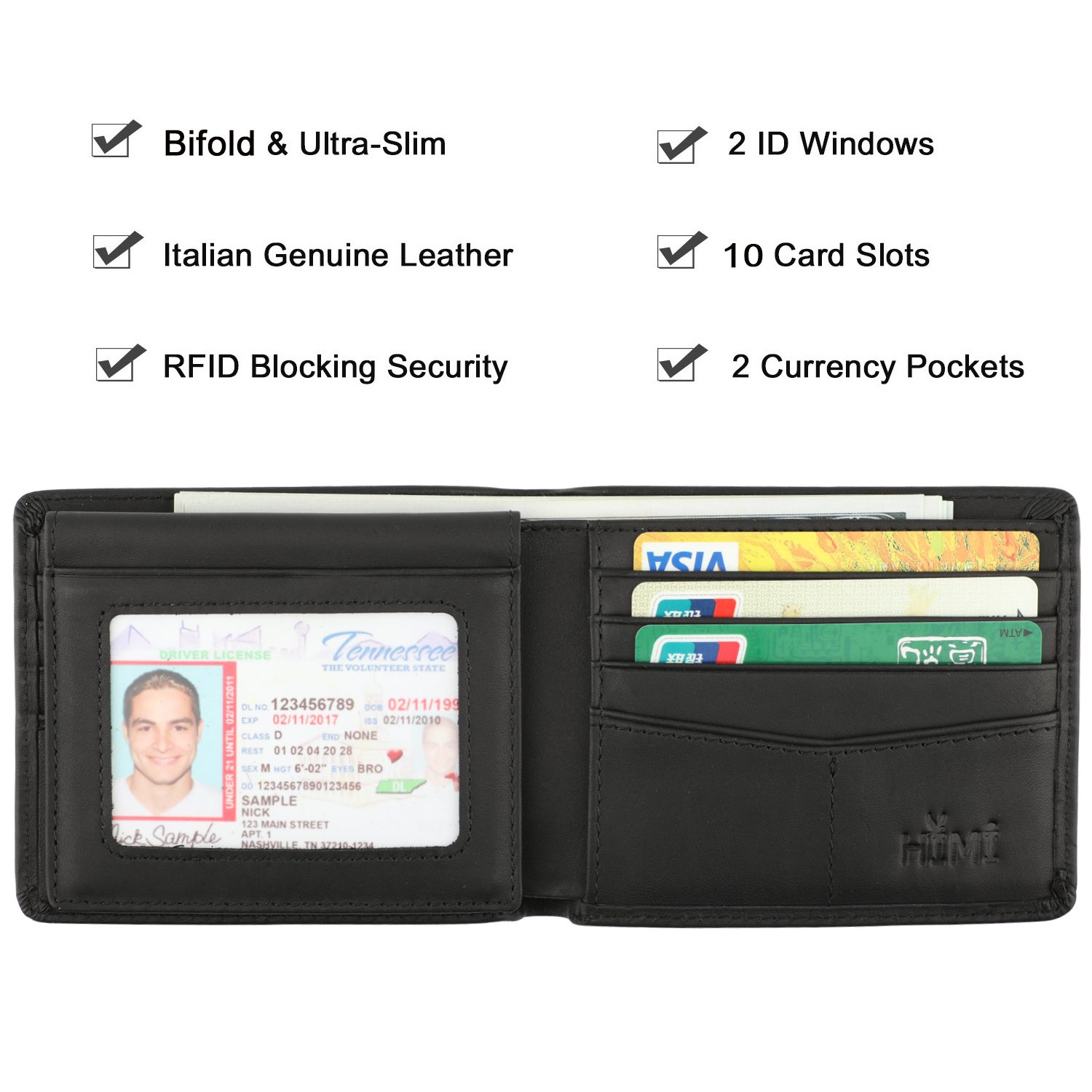 Wallet for MenGenuine Leather RFID Blocking Bifold Stylish Wallet With 2 ID Window
