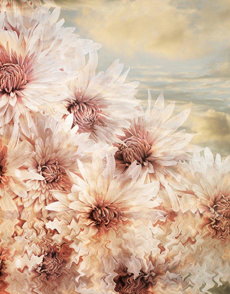 A MonamourヴィンテージMottledフローラル花印刷5 x 7ftファブリックビニール写真背景菊花   B01N001FZR