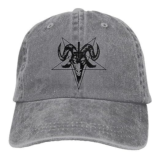 Amazon.com  Satanic Goat Head Pentagram Snapback Cotton Hat Ash ... 1452aad79ee