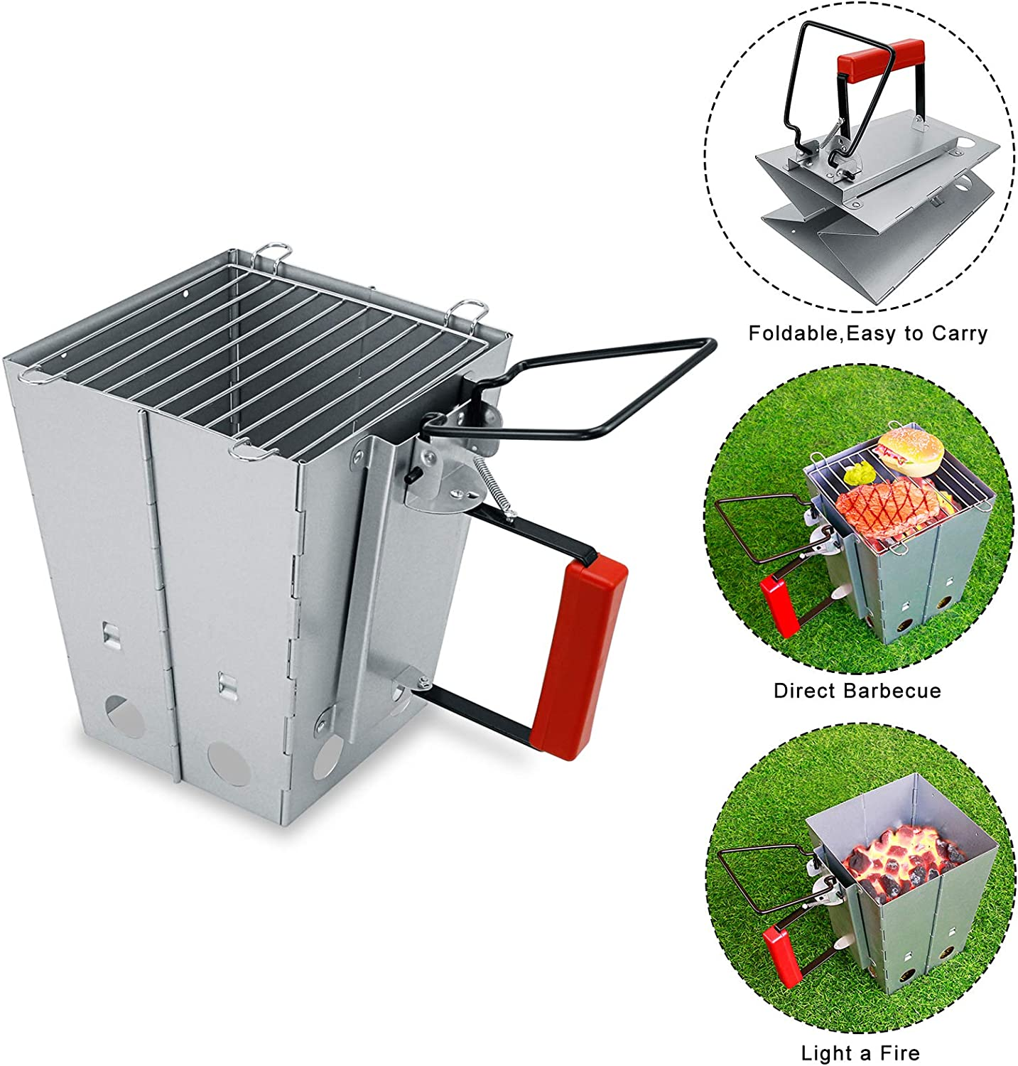 """Hisencn Grill Grate, Charcoal Grid for Weber 18.5"""" One-Touch Charcoal, Bar-B-Kettle, Smokey Mountain Cooker Smoker, Jumbo Joe, Original Kettle Grill for Weber 7432, 7440 with Foldable Chimney Starter : Garden & Outdoor"""