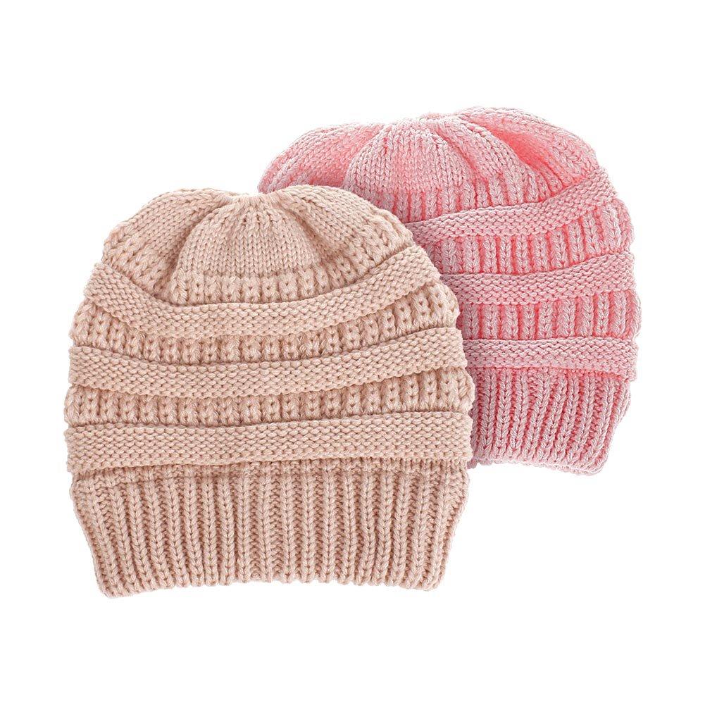 BAOBAO 2Pcs Parent-Child Cable Knit Beanie Warm Stretch Messy High Bun Cap