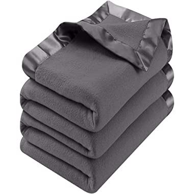 Utopia Bedding Fleece Blanket King Size Grey Lightweight Soft Cozy Sateen Bed Blanket Microfiber
