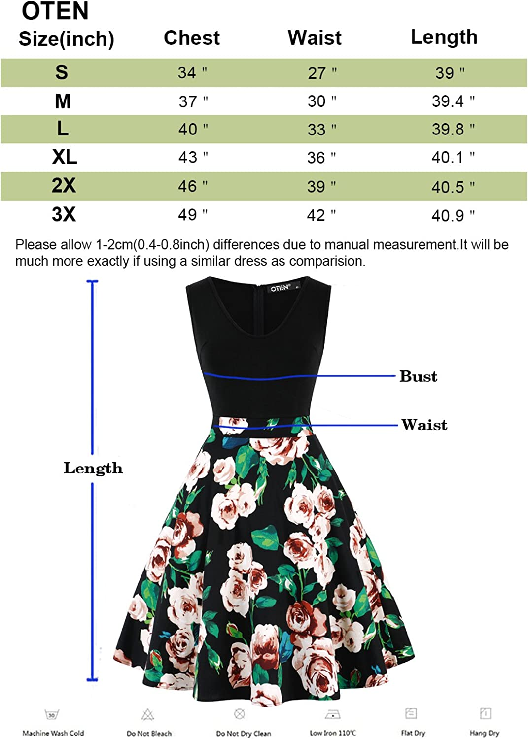 oten Womens V Neck Sewing Floral Print Contrast Evening Prom A Line Dress