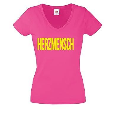 Lustiges Damen T Shirt Mit V Ausschnitt Herzmensch V Neck Lustige