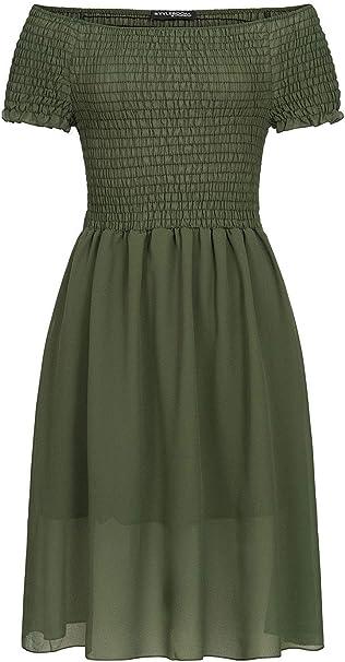 Styleboom Fashion Damen Bandeau Kleid 2 Layer Off Shoulder Chiffon Dress Military Grun Amazon De Bekleidung