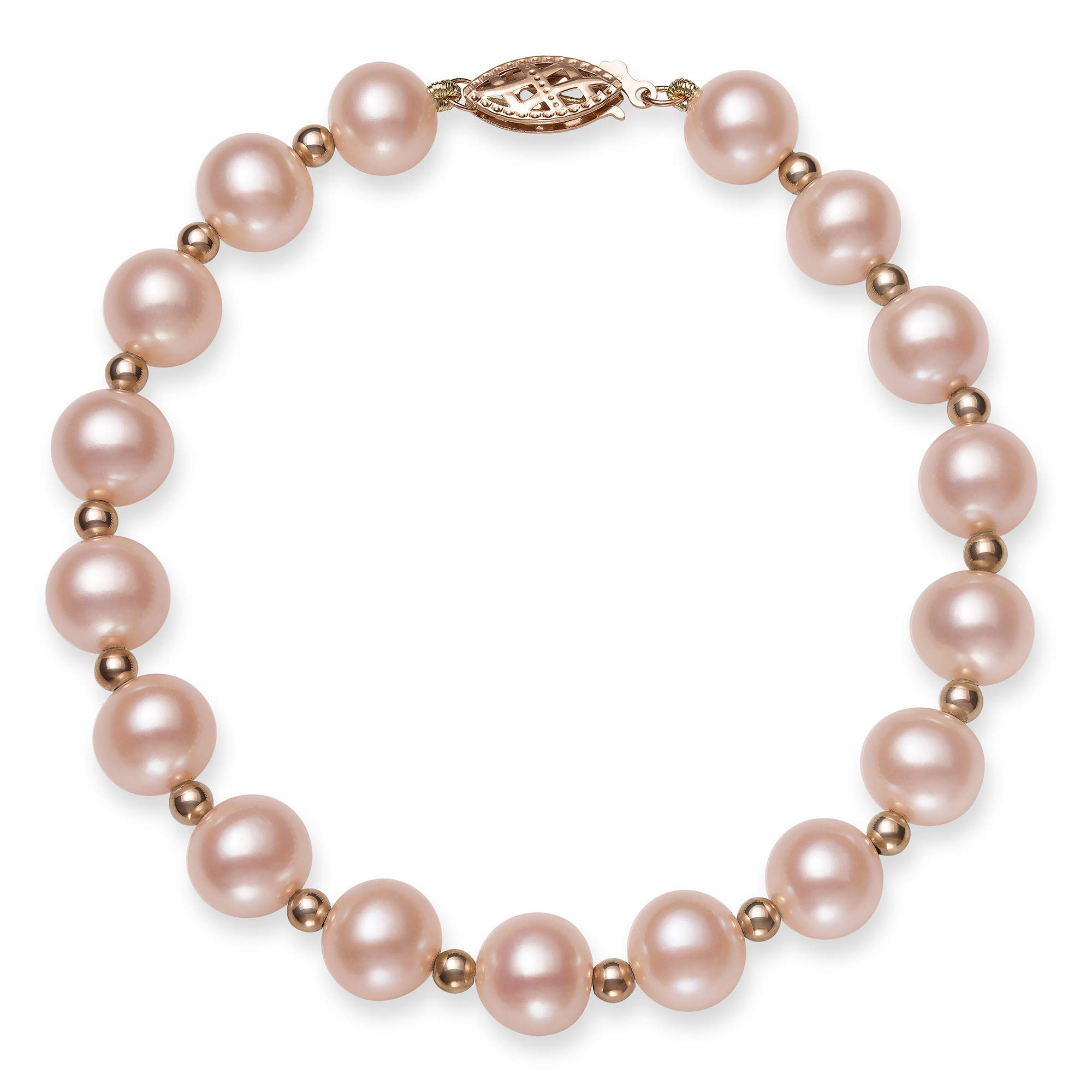 14k Rose Gold Natural Pink Cultured Freshwater Pearl Beaded Bracelet,7.5'' by Belacqua