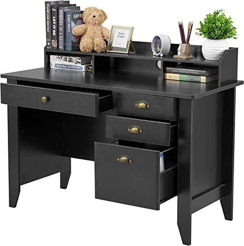 Computer Desk with 4 Drawers and Hutch Shelf, Home Office Desk Writing Sturdy PC Laptop Notebook Desk, Spacious Desktop Vintage Style Black