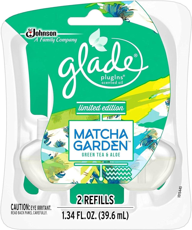 Glade Plugins Scented Oil Air Freshener, Refill, Matcha Garden, 1.34 Fl Oz, 2 Ct