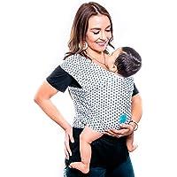 Fular elástico/Baby wrap (portabebés), rebozo para múltiples amarrados y posiciones, con estampado de estrellas, 100% algodón respirable con spandex, para bebés de 0 a 15 kg