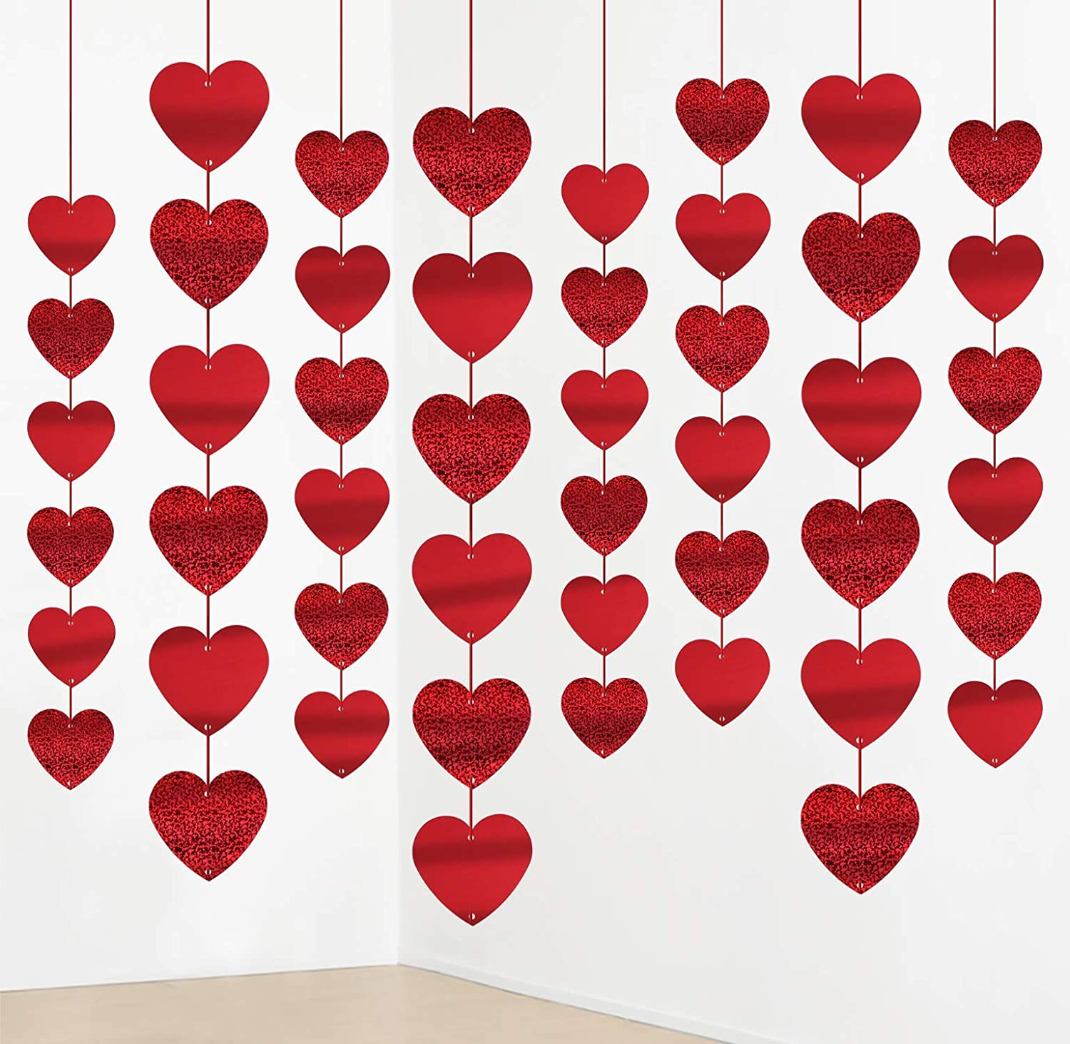 jollylife 12PCS Valentine's Day Decorations Heart Garland - Party Hanging String Decor Supplies