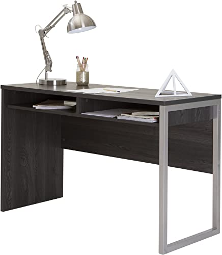 Interface Desk Sleek Metal Finish Open Storage